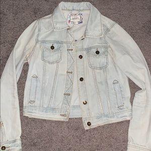 Light wash mid-length jean jacket premium denim